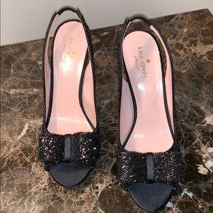 KATE SPADE BLACK GLITTER HEELS - worn once!